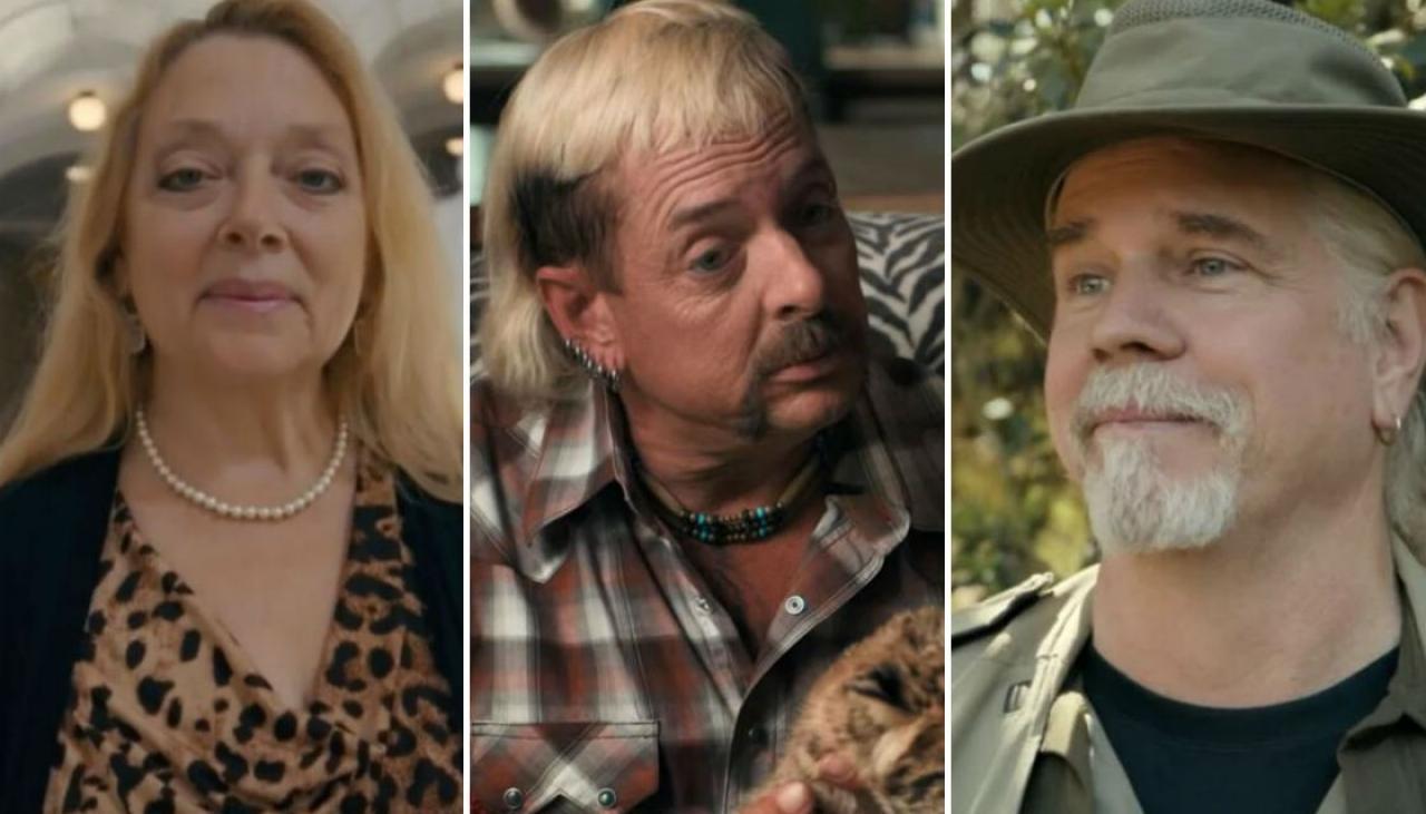 Carole Baskin, Joe Exotic, Doc Antler from Tiger King.