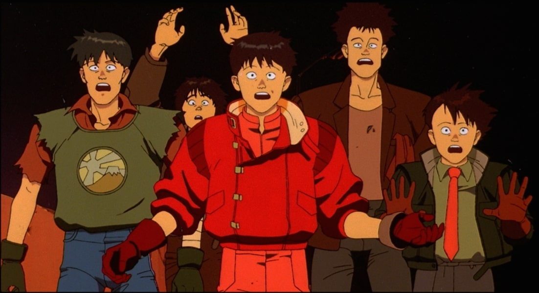 Kaneda's motorcycle gang all stop in fear as the police shine a light on them.