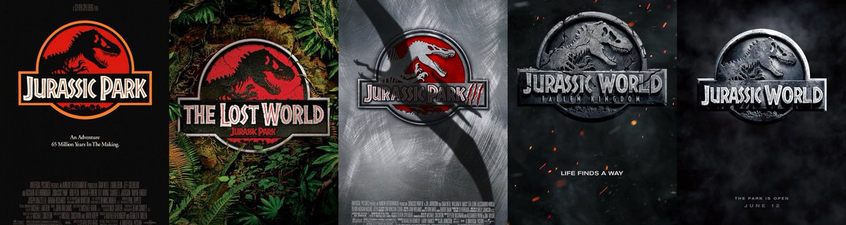 Movie posters of the Jurassic Park franchise films.