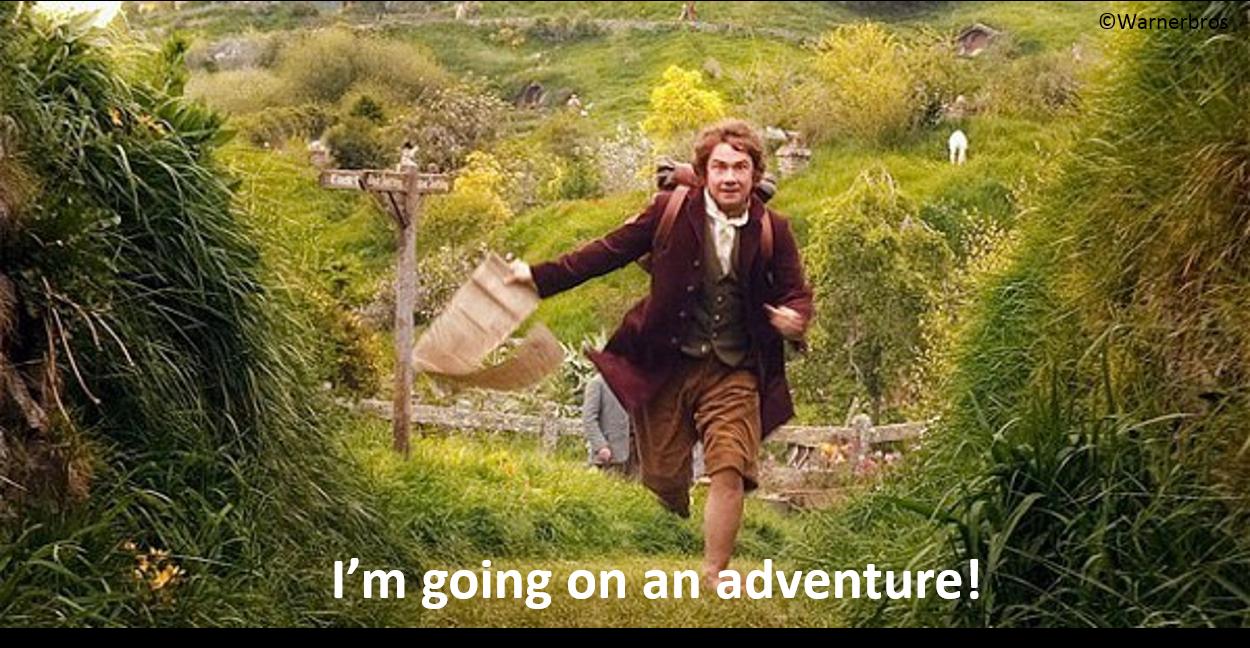 Bilbo Baggins runs through the Shire for a fresh adventure