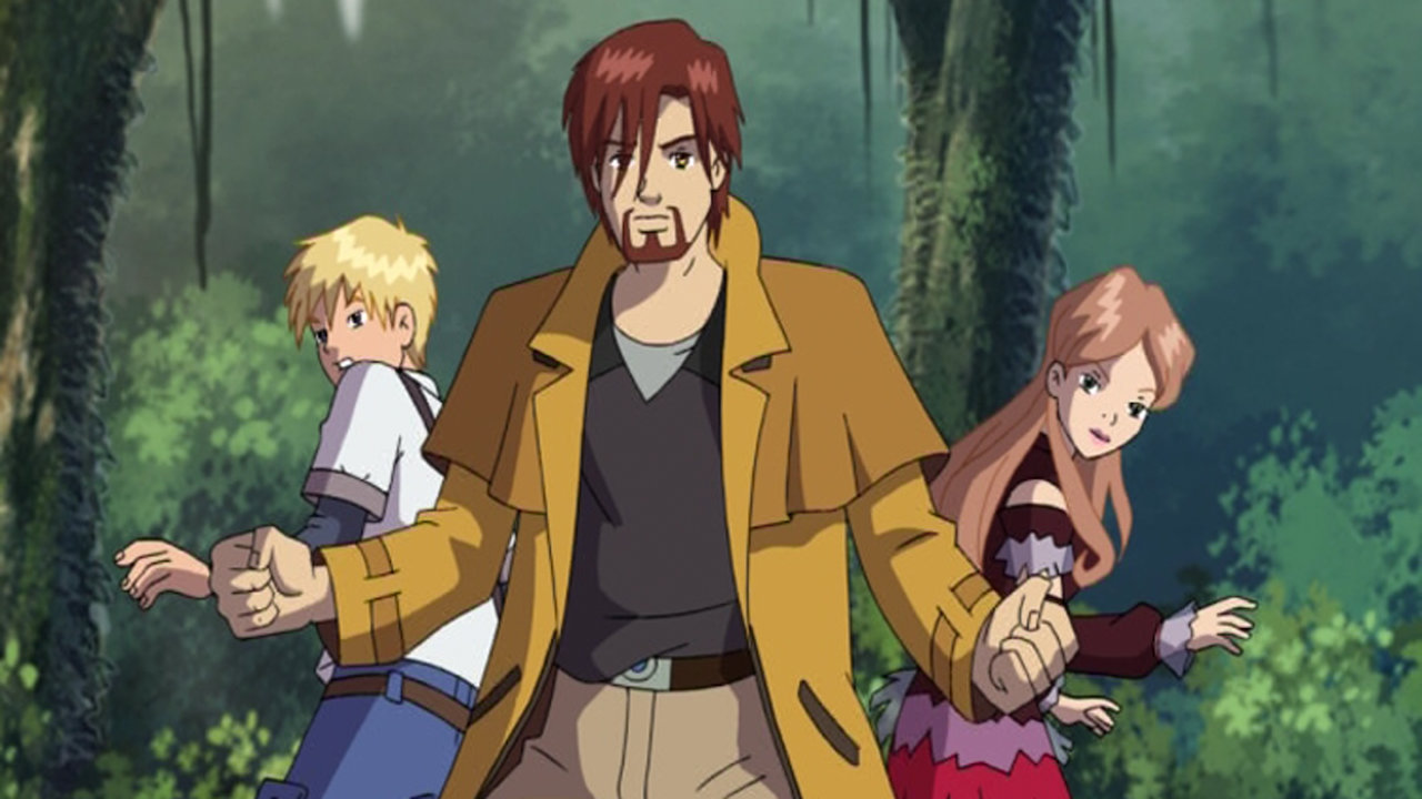 Sophie, Lok and Dante from the Jetix series Huntik, standing in the middle of the jungle.