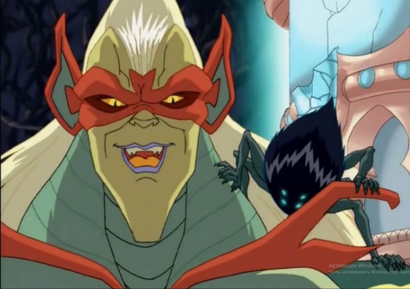 Two villains, Lord Cedric with Miranda on his shoulder from the show on Jetix W.I.T.C.H.