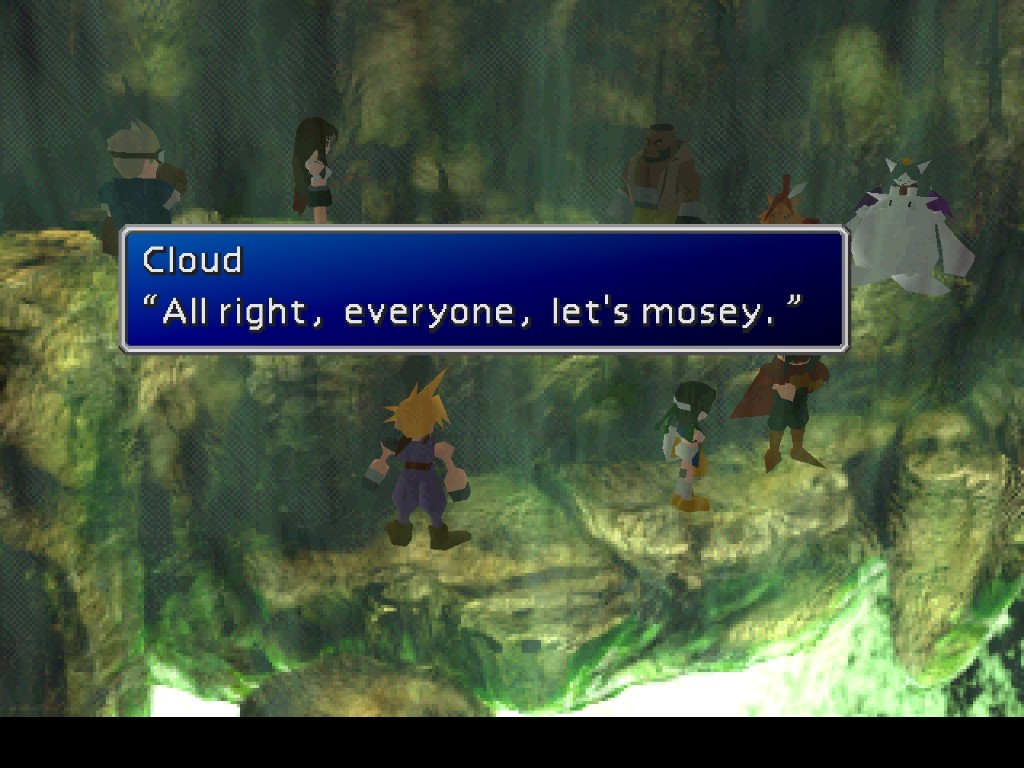 """Screenshot from the 1997 Cloud saying this iconic, yet goofy line of """"Let's mosey."""""""