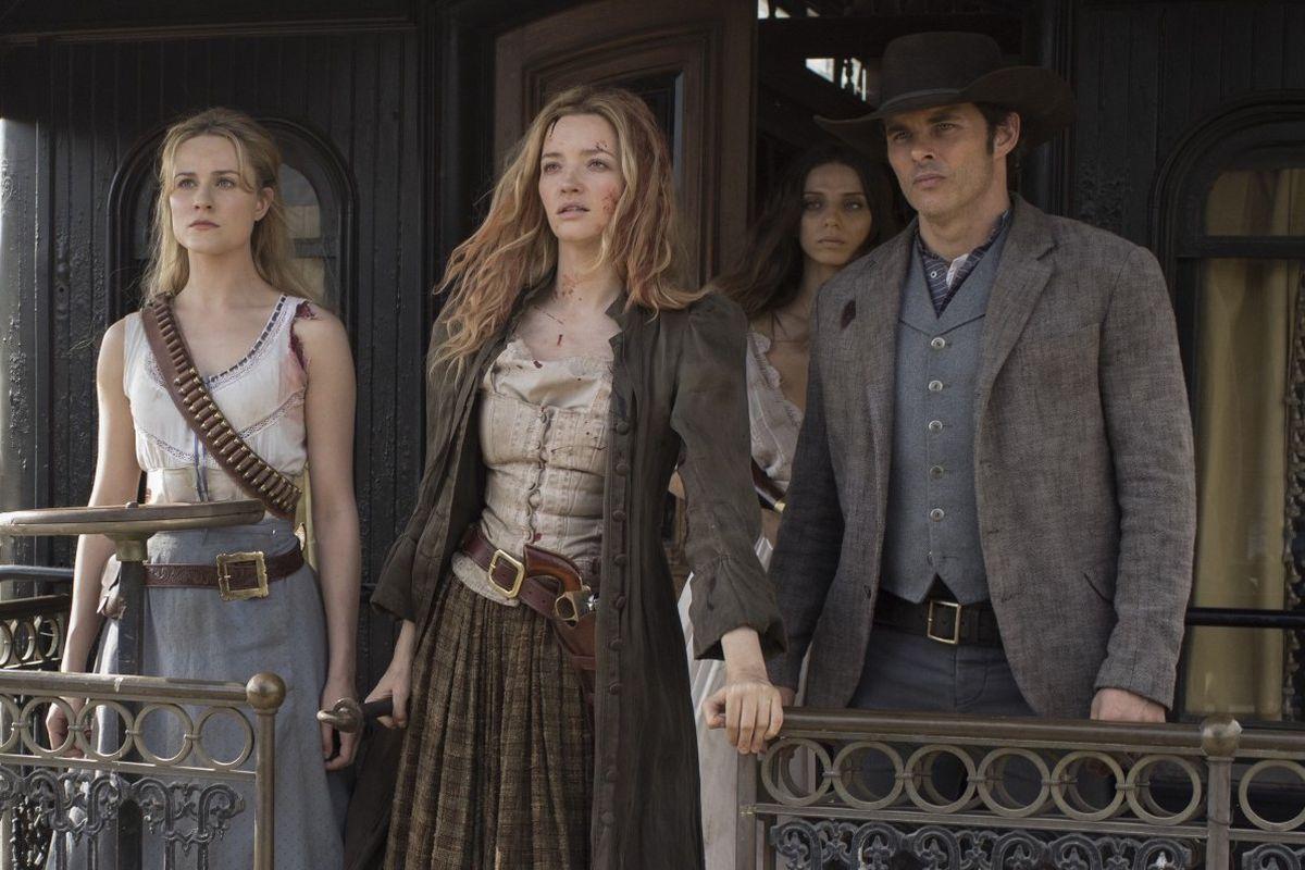Evan Rachel Wood, Talulah Riley, Angela Sarafyan and James Marsden in Westworld
