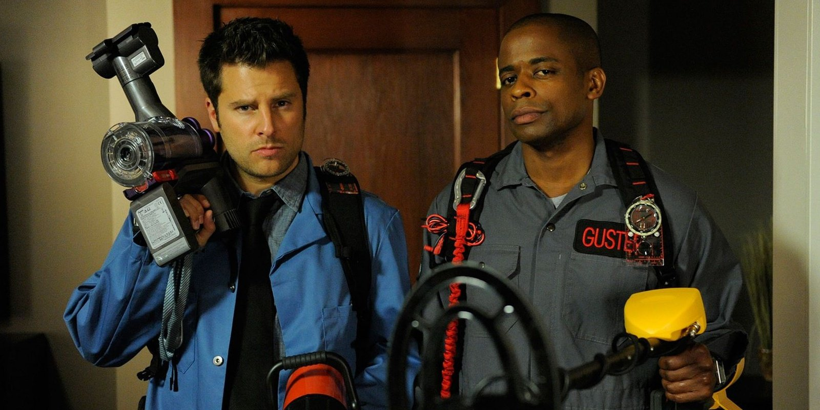 Best friends Shawn and Gus as Ghostbusters (Psych).
