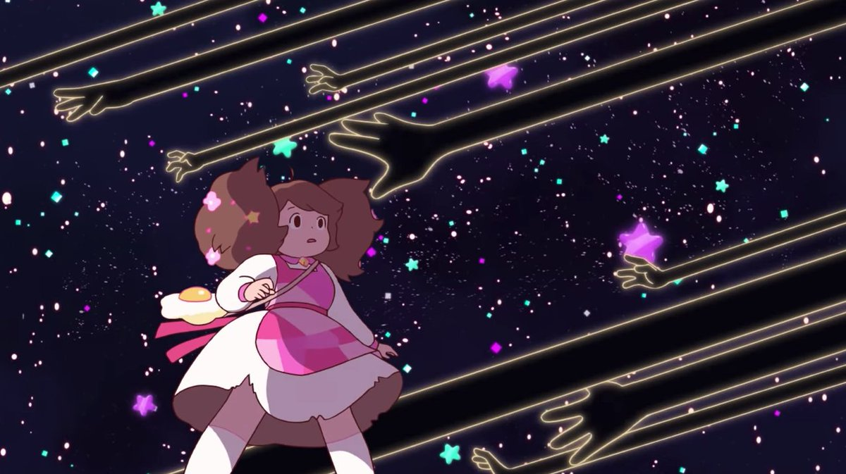 Bee from Bee And Puppycat standing in space with dark, stretching hands reaching out towards her.