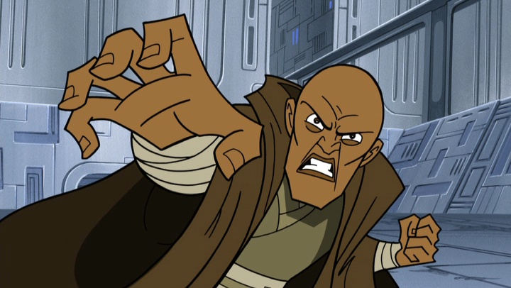 Mace Windu uses the force to crush General Grievous.