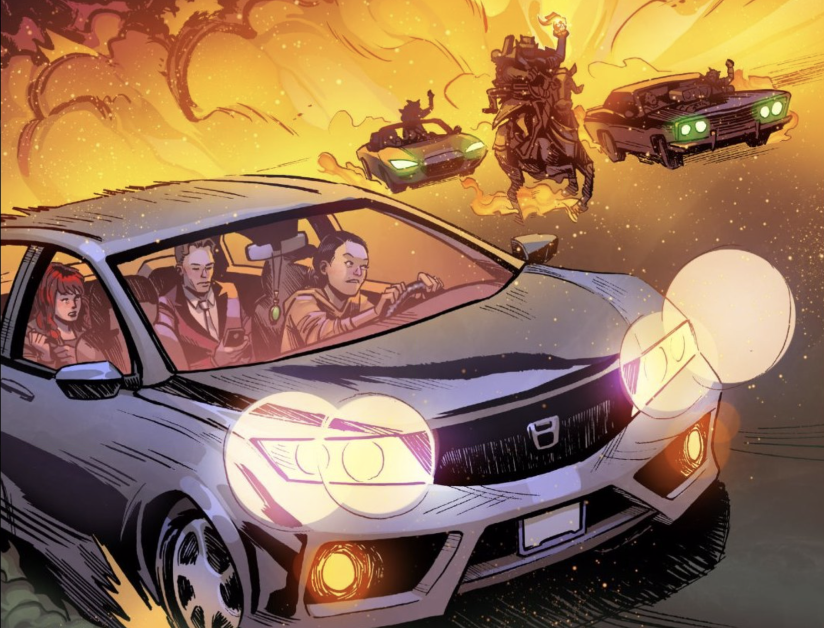 A car with three passengers driving away from demons in hard and horseback, with flames erupting behind.