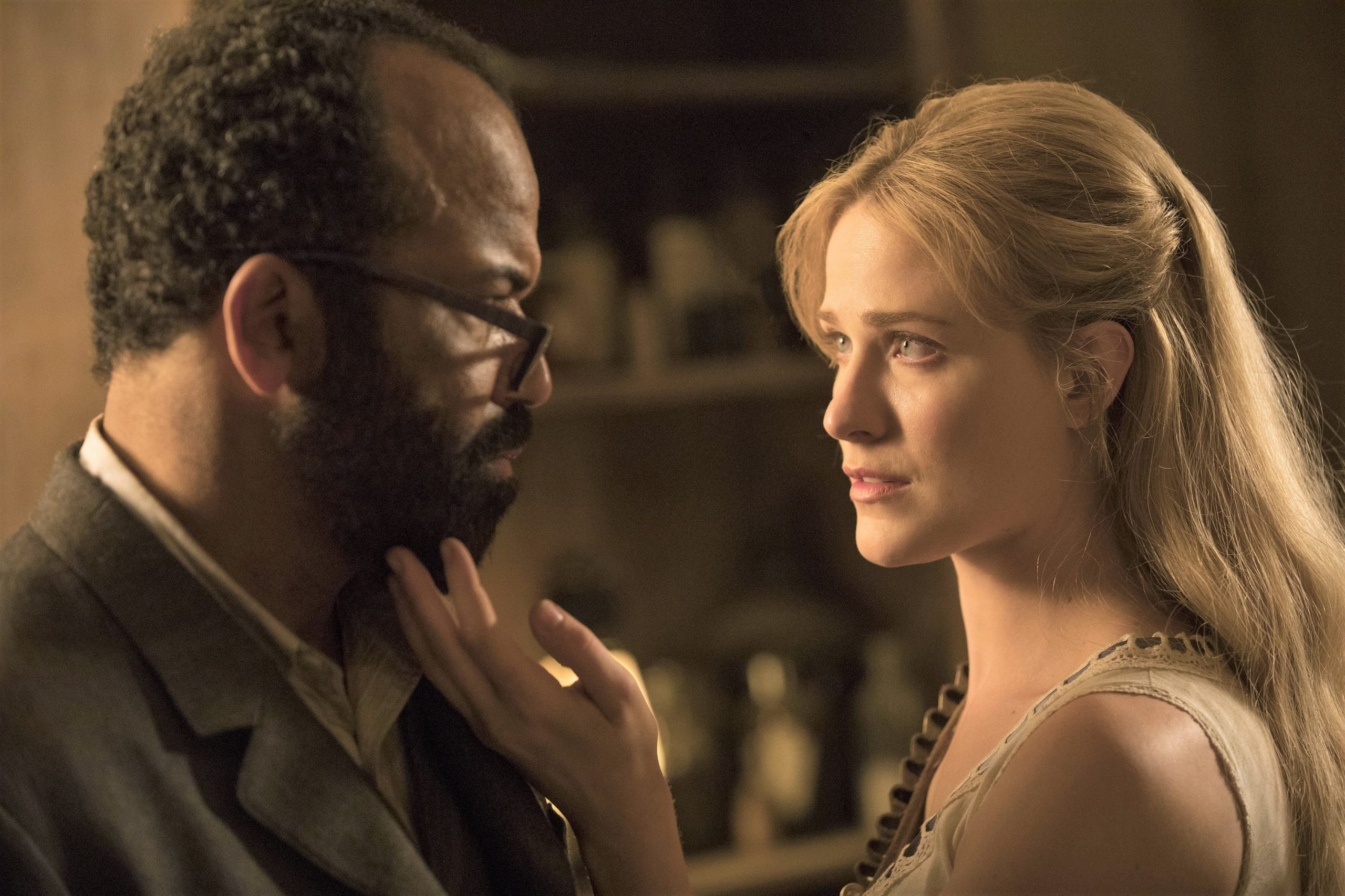 Jeffrey Wright and Evan Rachel Wood in Westworld