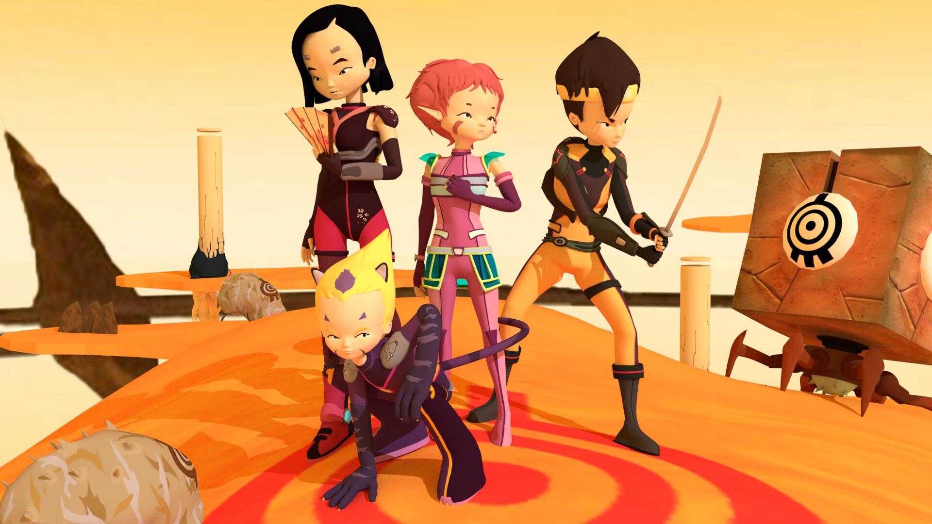 Aelita, Yummi, Ulrich and Odd Della ready to strike as they arrive in Lyoko.