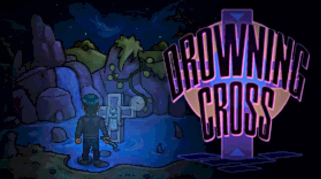 Drowning Cross logo, man in front of tombstone cross, 1/10 free steam games