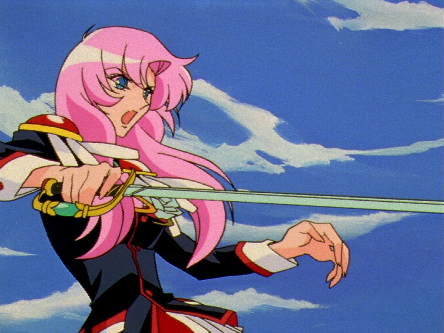 Utena from Revolutionary Girl Utena wielding a sword during a duel, similar to several scenes in Steven Universe.