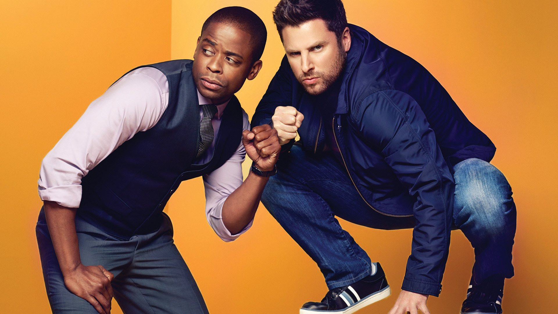 Friendship fist bump by Shawn and Gus (Psych)