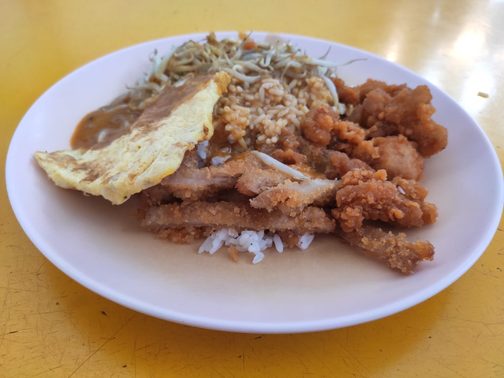 22 Curry Rice: Pork Chop, Fried Chicken, Chye Poh Omelette, Bean Sprouts with Curry Rice