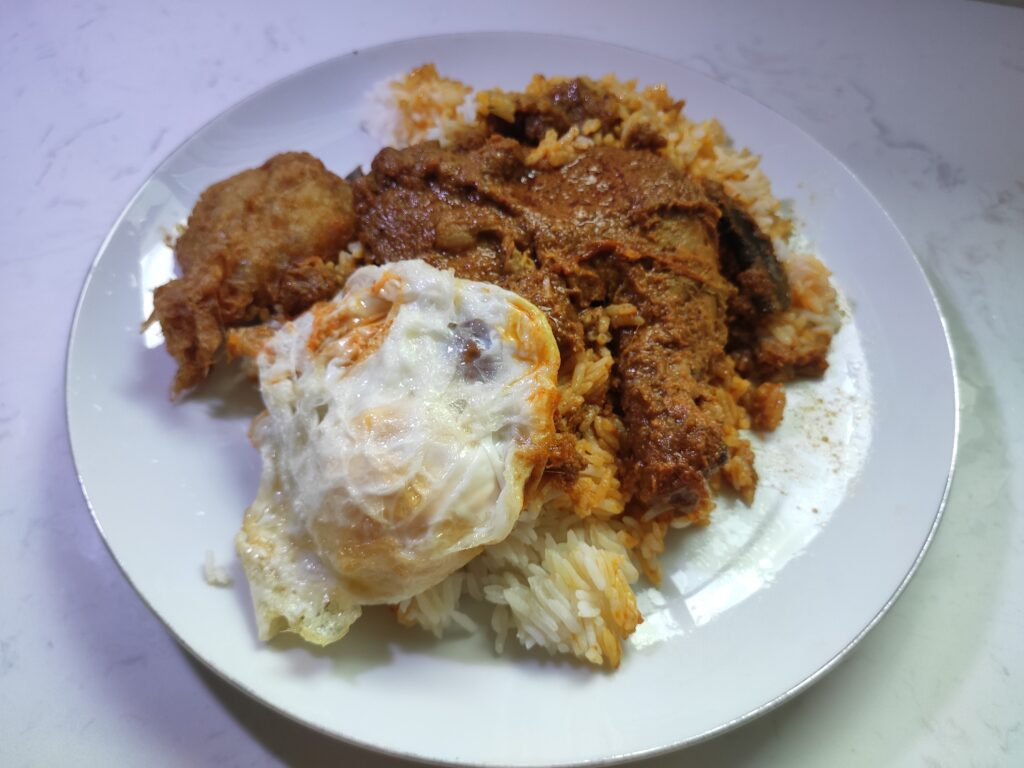 Anthony Indonesian Cuisine: Chicken Rendang, Fried Egg, Begedil, Rice