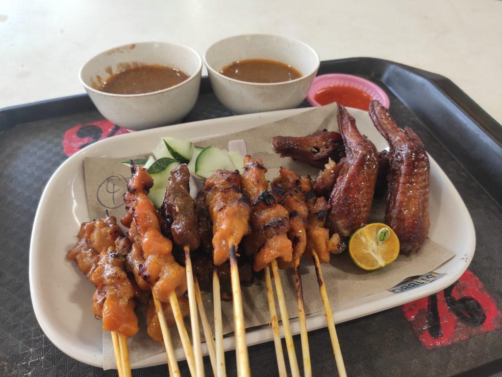 Bedok 511 BBQ Chicken Wing / Soon Lee Heng Satay: Assorted Satay and BBQ Chicken Wings