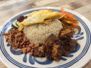 Cafe Pandan: Nasi Lemak with Beef Rendang, Omelette & Achar