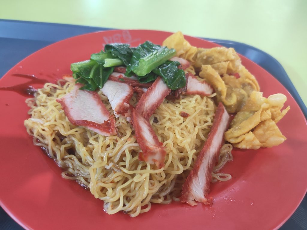 Hougang Ming Ji Wanton Noodle: Char Siew Noodles with Fried Wanton