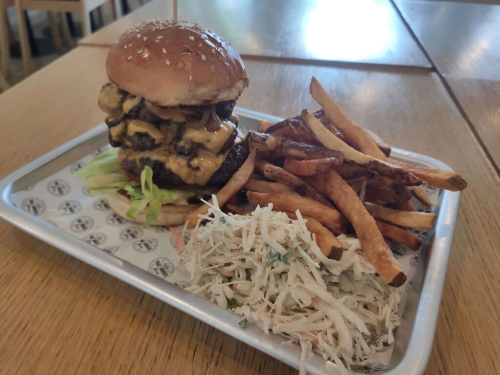 Phat Burger Bro: Classic Cheeseburger with Fries & Coleslaw