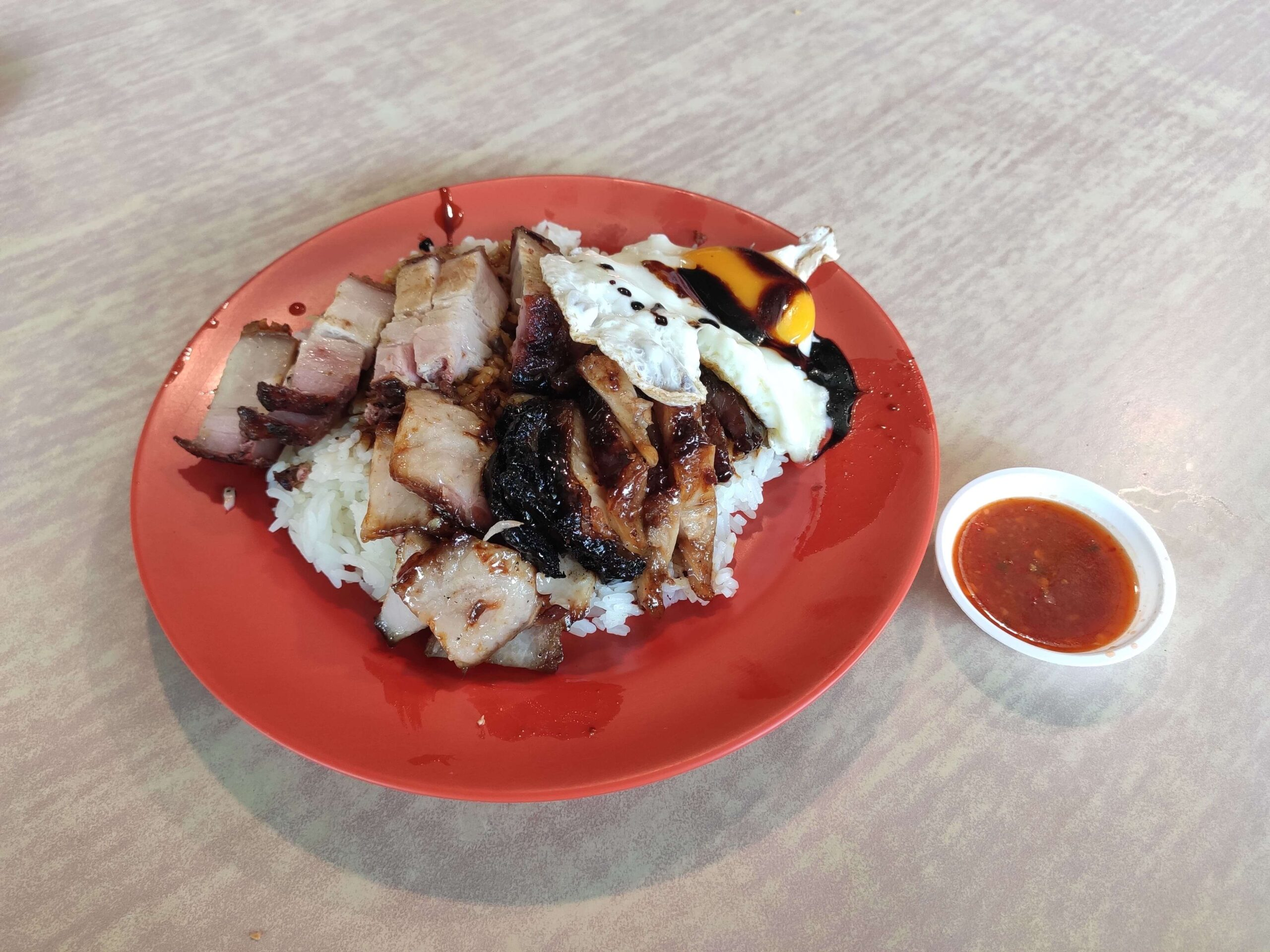 Poh Chan Kee Roasted: Char Siew & Siu Yuk Rice with Chilli