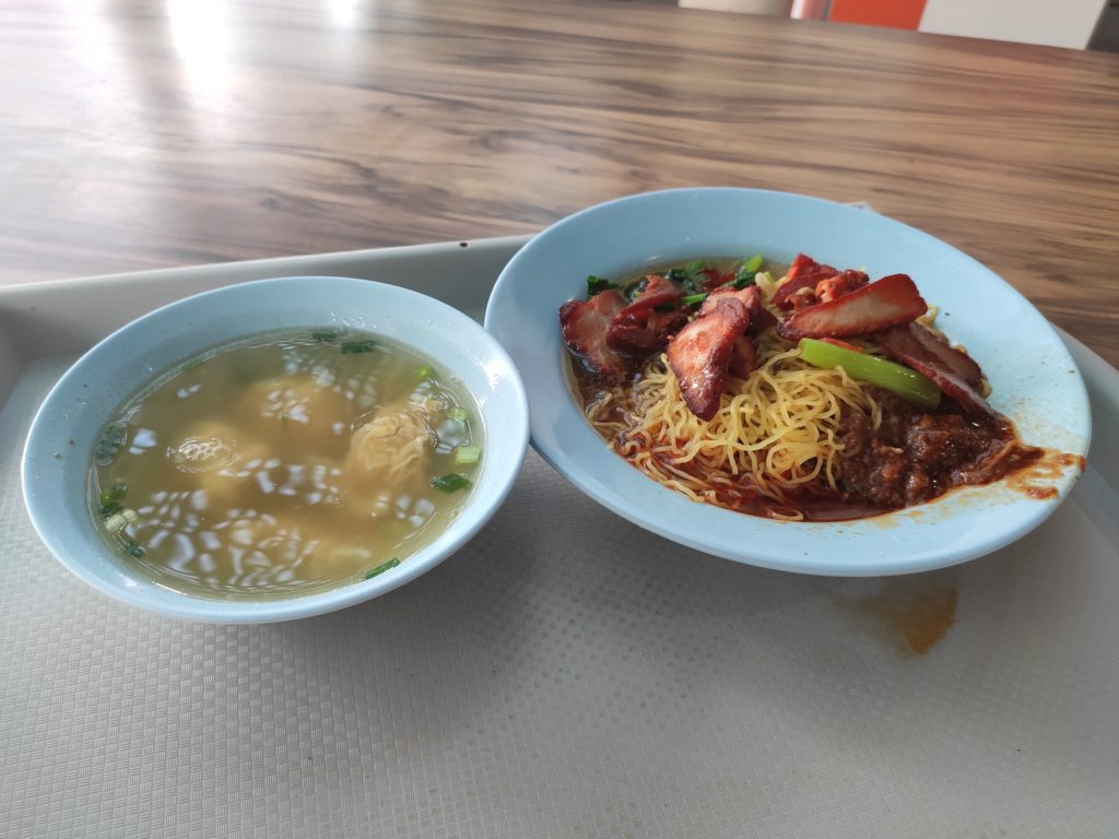 Sheng Ji Soya Sauce Chicken Rice Noodle: Char Siew Noodles with Wanton Soup