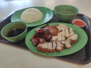 Tong Kee Chicken Rice: Roast Chicken, Roast Pork & Char Siew with Rice and Soup