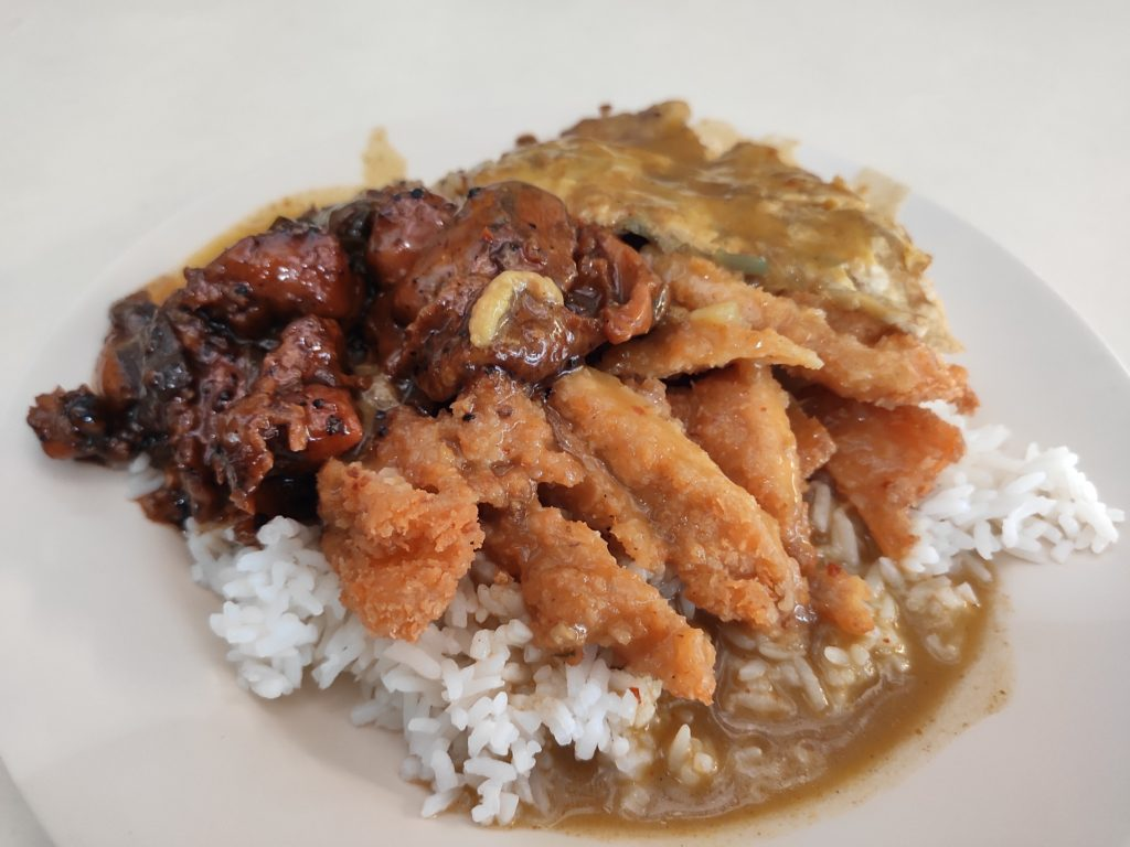 Zhong Wei Food Stall: Rice with Pork Chop, Black Pepper Chicken, Onion Omelette & Curry