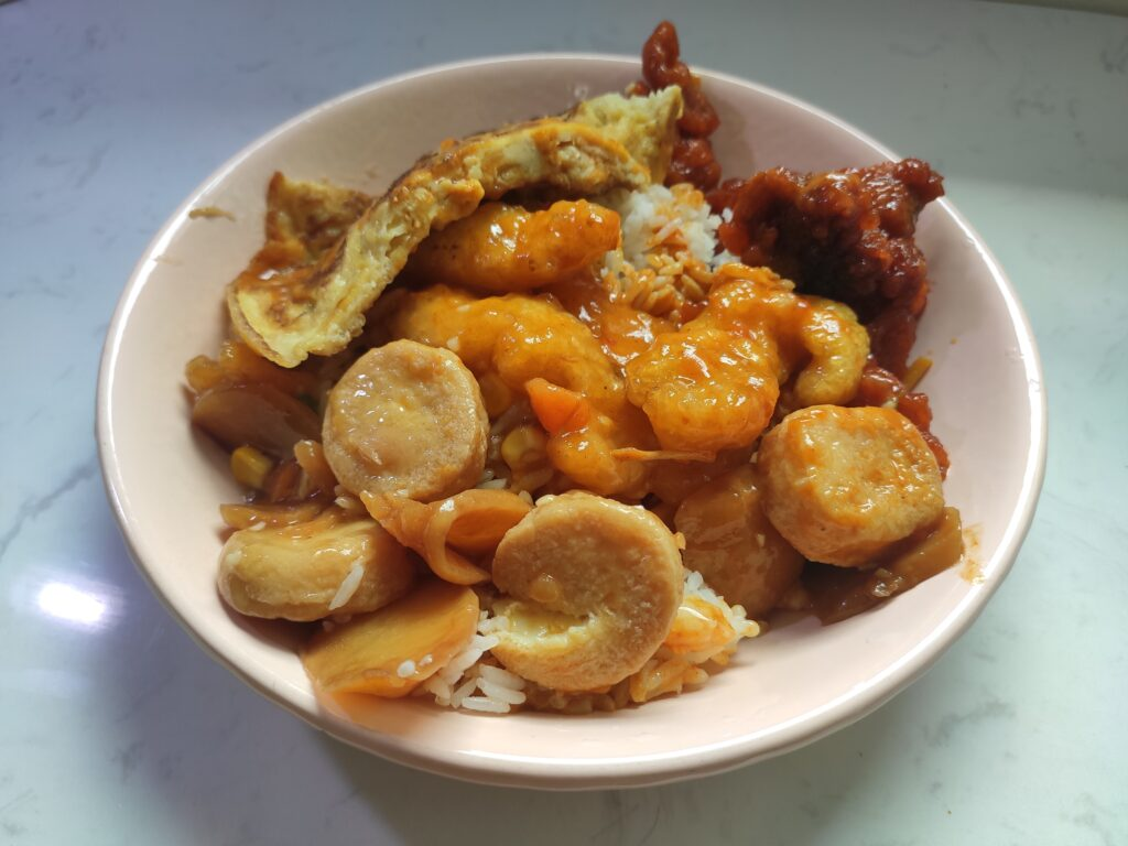 Zion Riverside Mixed Veg Rice: Sweet Sour Pork, Lemon Fish, Egg Tofu, Omelette with Rice & Curry