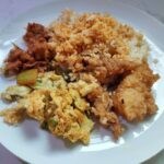 Hup Heng Economic Mixed Vegetable Rice: Curry Rice with Sweet Sour Pork, Lemon Fish & Fried Egg
