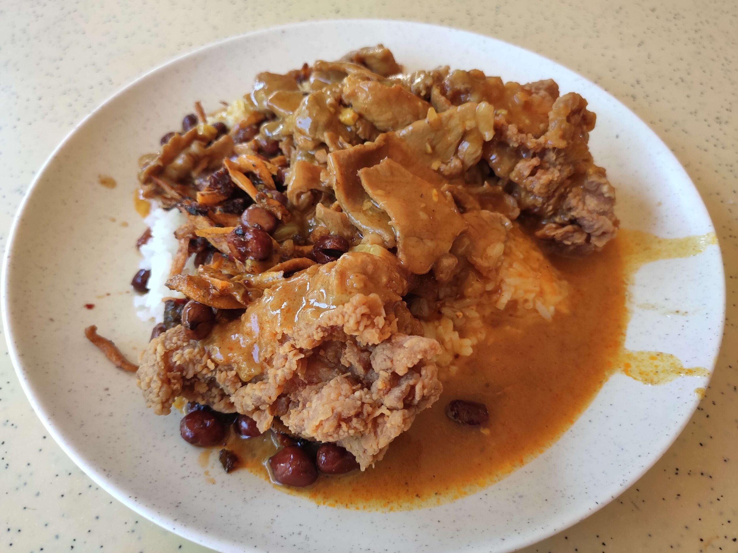 Kheng Nam Lee Curry Rice: Fried Chicken, Sliced Pork, Ikan Bilis & Peanuts with Curry & Rice