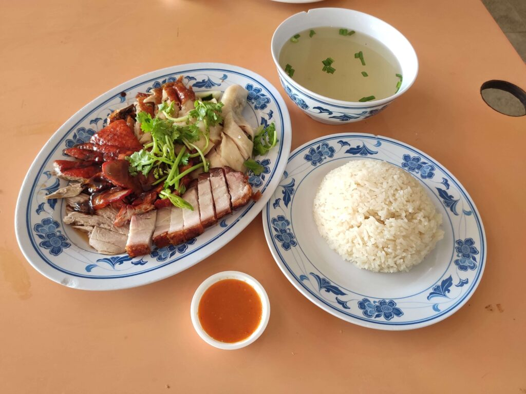 Xin Kee Hainanese Chicken Rice - Old Airport Road: Assorted Chcken & Roast Meats with Soup & Rice