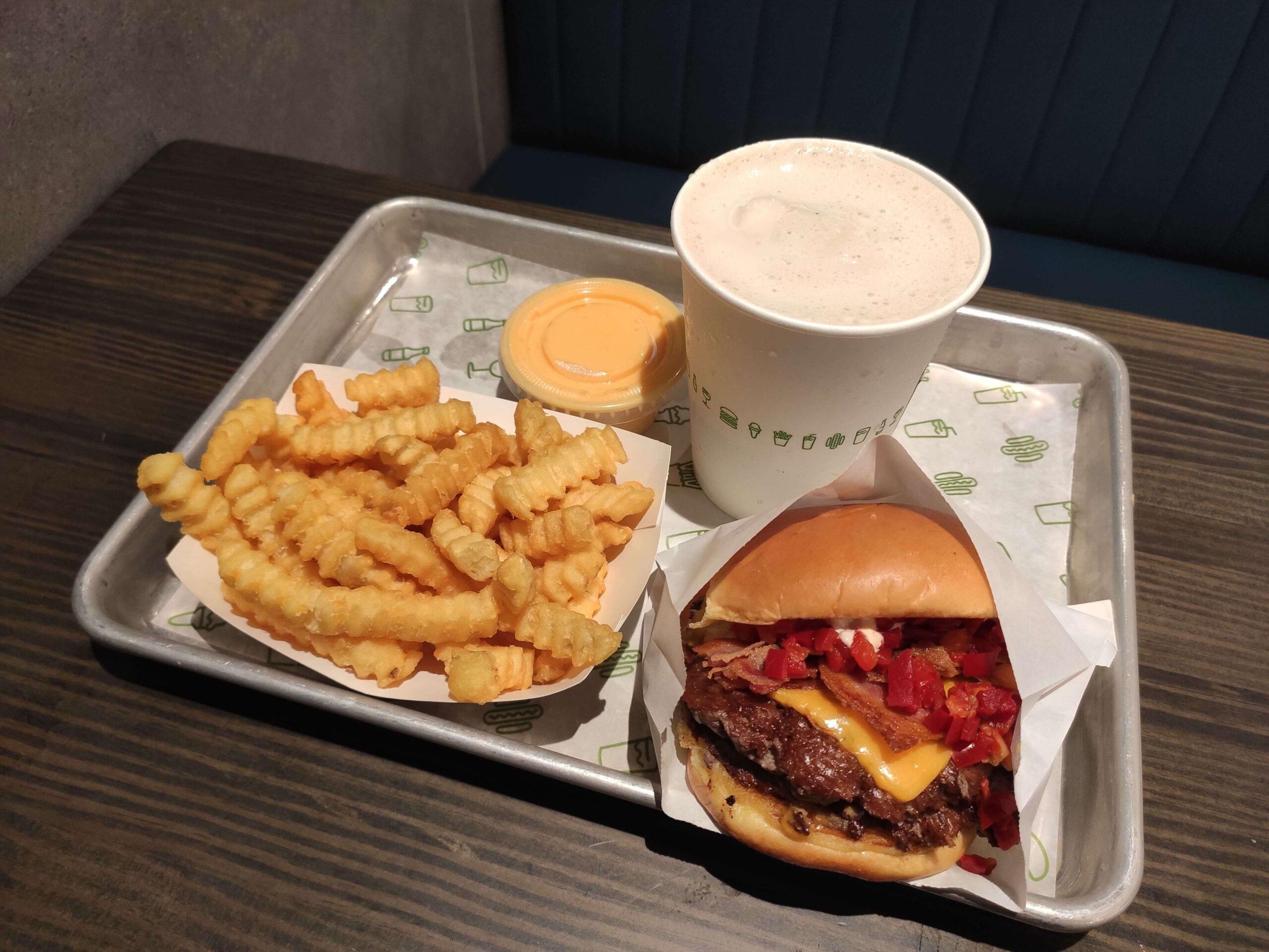 Shake Shack: Double Smoke Shack, Cheese Fries, Coffee Milkshake
