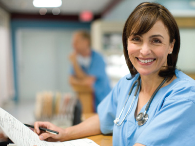healthcare worker smiling