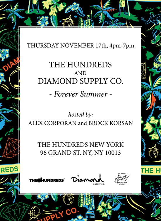 "d5bdf12e9 NYC/SF/LA : THE HUNDREDS x DIAMOND SUPPLY CO. ""FOREVER SUMMER""  RELEASE PARTIES - The Hundreds"