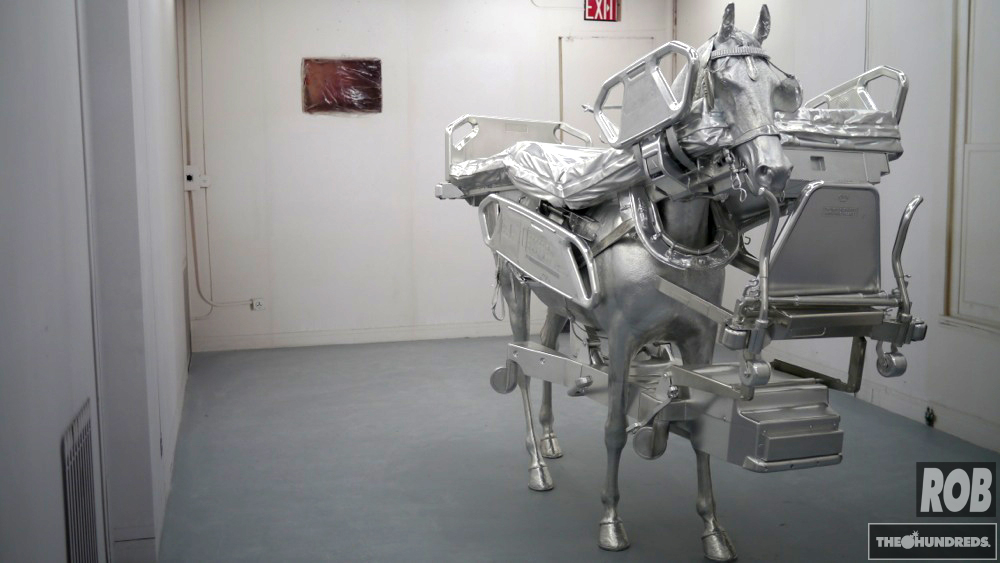 urs fischer hospital bed horse
