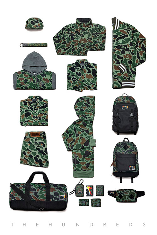 The Hundreds Fall 2013 Duck Camo Collection - Chain Jacket and Axel Jacket and Adam Tri-Fold and Murky Bi-Fold and Sylvester Bi-Fold and Montana Zipper Bi-Fold and Shutter Bag and and Cloak Five Panel and Rescue Belt and Kruger Pant Slim Fit...
