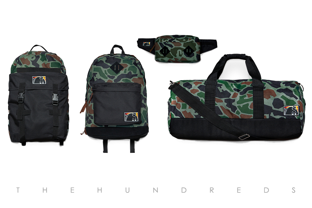 The Hundreds Fall 2013 Duck Camo Collection - Norton Bag and Jon Bag and Wrap Bag and Evacuate Duffle