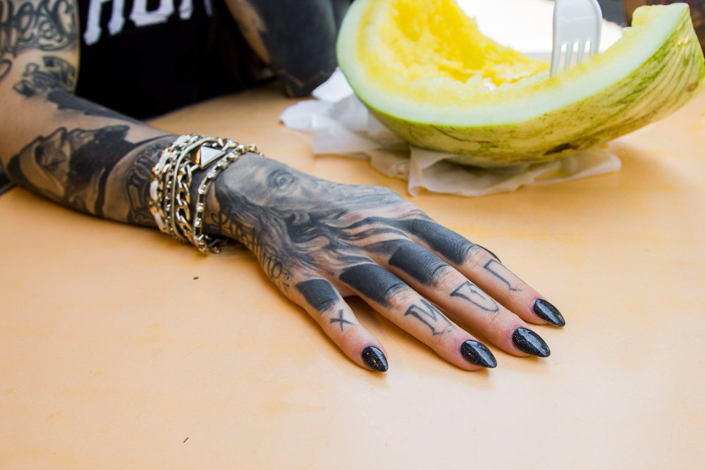 monami frost, monami, black and white tattoo,