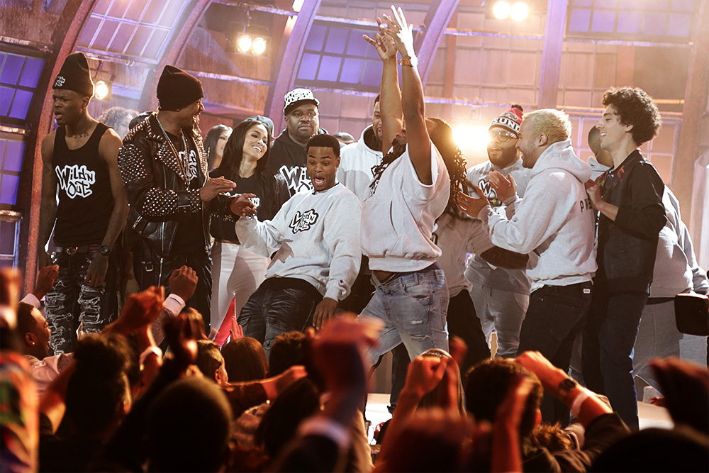 MTV Wild N Out cast freestyle battling on stage.