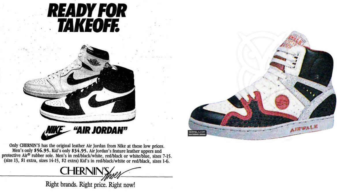 quality design 4b7c8 b9430 Left  A vintage Air Jordan 1 ad  Right  Airwalk Prototype 600F Torch.  Photo  modern-notoriety.com skately.com
