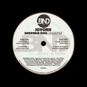 "Jovonn Hesperia Soul Remixes Body N Deep 12"" Vinyl"