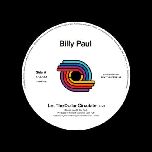 """Billy Paul Let The Dollar Circulate / East Be With Records 12"""", Reissue Vinyl"""