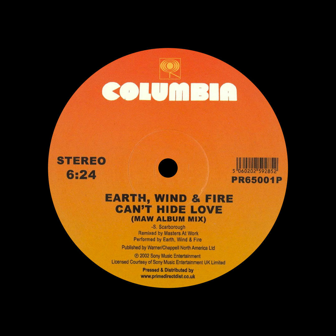 "Earth, Wind & Fire Fantasy / Can't Hide Love (Shelter / MAW mixes) Columbia 12"", Reissue Vinyl"