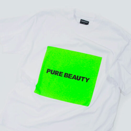 Pure Beauty S/S White (Green) Box Logo T-Shirt Pure Beauty Merchandise Vinyl