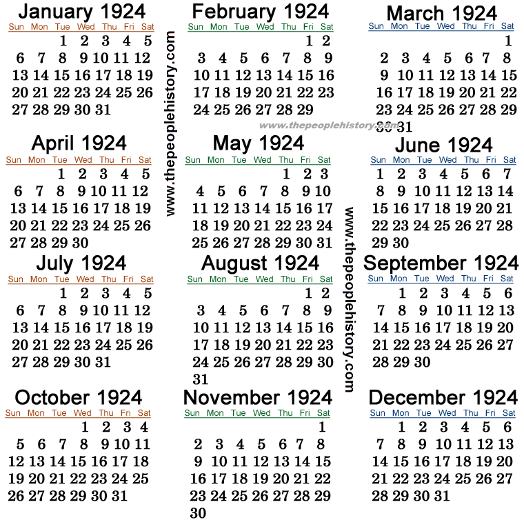 1924 Calendar