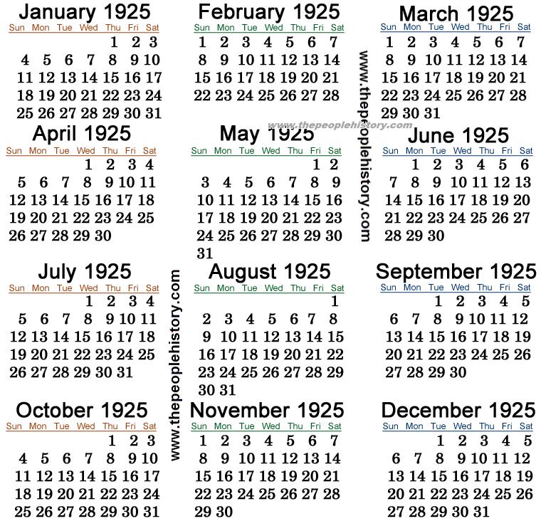 1925 Calendar
