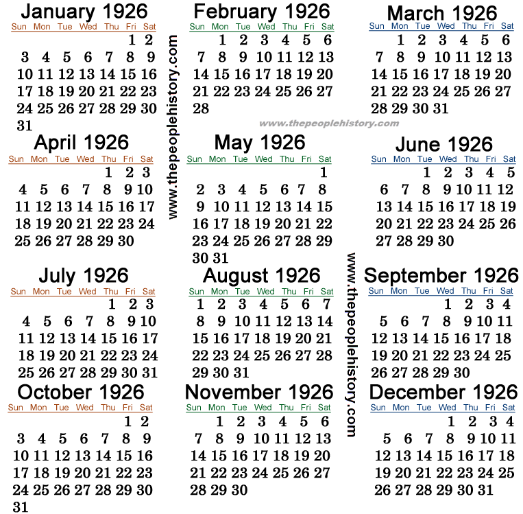 1926 Calendar
