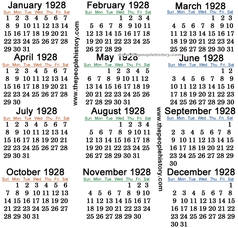 1928 Calendar