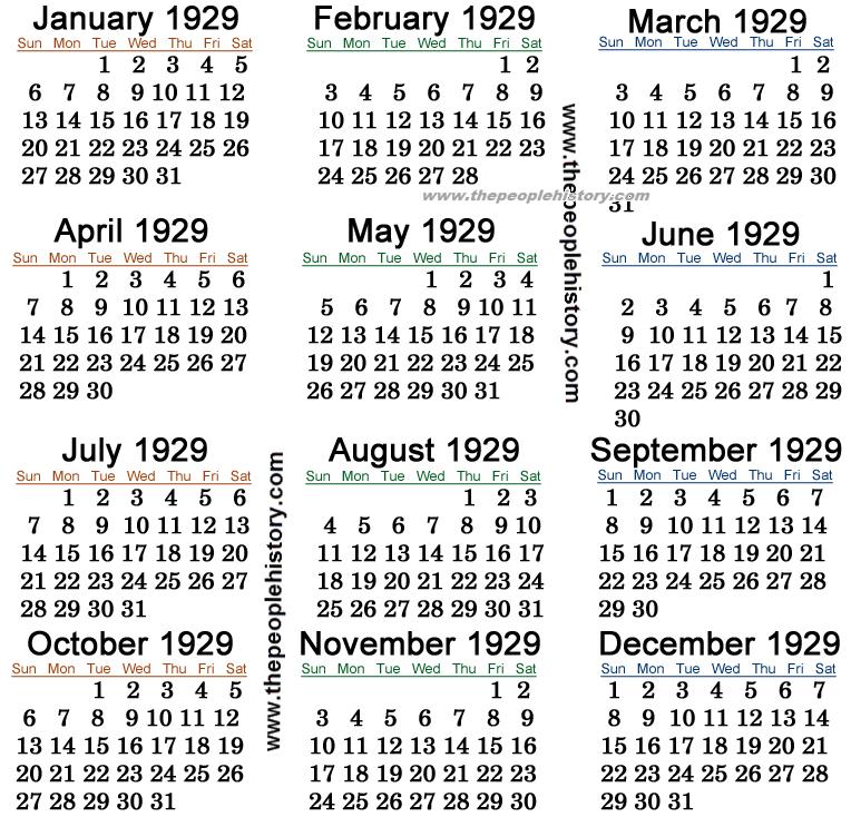 1929 Calendar
