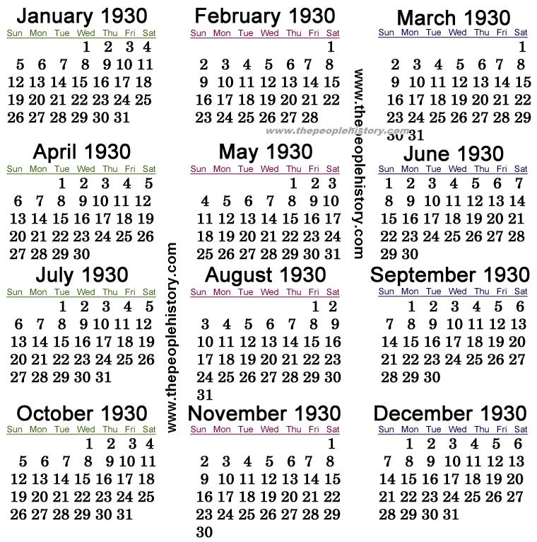 1930 Calendar